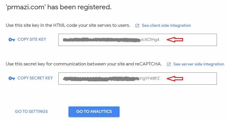 recaptcha site key